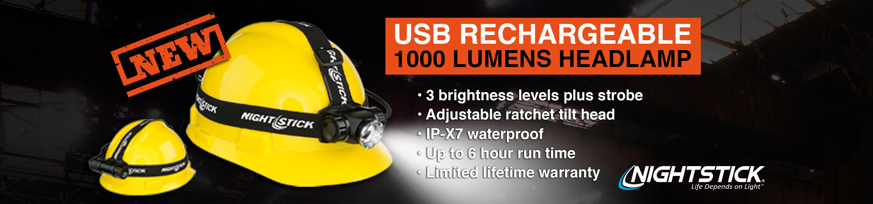 Really Bright 1000 Lumen USB rechargeable Nightstick headlamp